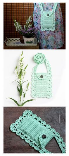 Mint crossbody phone purse. Chic little crochet bag that looks so pretty with a shell border.