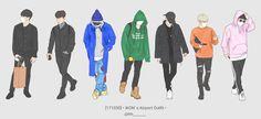 iKON outfits Ikon Wallpaper, Kim Hanbin, Kpop Outfits, Yg Entertainment, Got7, Chibi, Fan Art, Wallpapers, Illustrations