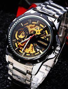 Männer runde Zifferblatt Mineralglasspiegel Edelstahlband Mode Leben wasserdicht mechanische Uhr - http://uhr.haus/yyf/maenner-runde-zifferblatt-mineralglasspiegel