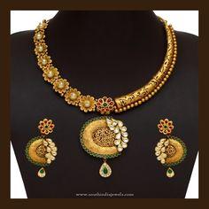 91 Grams Gold Designer Necklace Set, 91 Grams Gold Necklace Models, Gold Designer Necklace with Weight
