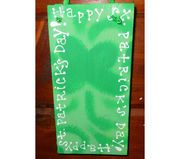 Love the shamrock in the back! Handpainted St. Patty's Sign hanging with ribbon! $10