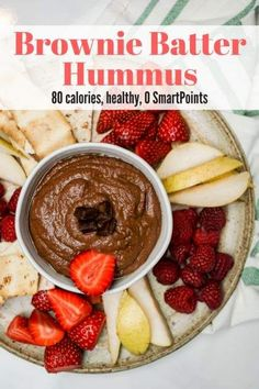 Brownie Batter Chocolate Hummus is the perfect sweet, healthy snack and you won't believe how delicious it tastes with fruit, pretzels, and more. | Winter | Holiday | Dessert | Snack | Gluten Free | Vegan | Vegetarian | Weight Watchers | #slenderkitchen #healthyrecipes #glutenfree #weightwatchers #snacks #dessert #vegan
