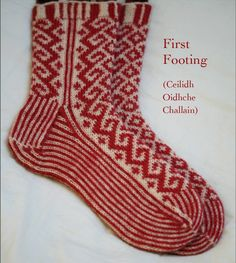 """These seasonal socks are named for the Scottish New Year tradition of first-footing, which is known in Gaelic as Ceilidh Oidhche Challain (which translates as """"a visit on Hogmanay night"""") The socks are knitted cuff-down, and the pattern comes in two sizes, Small and Medium, to fit adult foot with an 8 in or 9 in circumference.Kit contains 100g of Jamieson and Smith Shetland Heritage yarn (in your choice of colourway, indigo (blue) or madder (red)"""