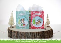 Lawn Fawn - Toboggan Together, Goodie Bag die, Stitched Circle Stackables, Let's Bokeh in the Snow paper, Freshly Cut Grass Ink _ gift bags by Nicole for We Wish You a Very Fawny Holiday Week 2015 {day 2}