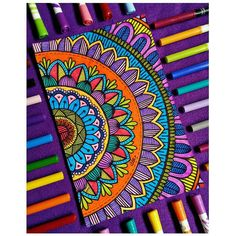 Image may contain: stripes Easy Mandala Drawing, Mandala Art Lesson, Doodle Art Drawing, Mandala Artwork, Mandala Painting, Art Drawings, Flower Drawings, Zen Doodle, Sharpie Drawings