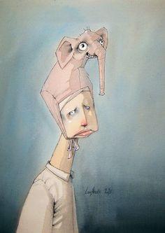 Elefant - by Lisa Aisato Art Drawings Sketches Simple, Cartoon Drawings, Big Hero 6 Costume, Illustrator, Lisa, Tinta China, Children's Book Illustration, Surreal Art, Face Art