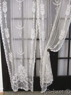 Romantic Net Lace Antique Curtains EMBROIDERED Applique French BRIDAL
