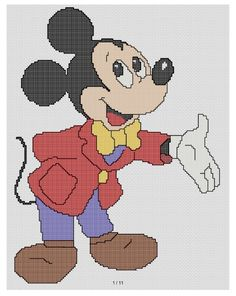 free cross stitch patterns and links: DAPPER MICKEY MOUSE