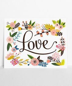 'Love' Floral Wall Art