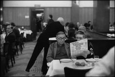 PARIS—Jean-Paul Sartre and Simone de Beauvoir having lunch at Brasserie la Coupole, Dec. 13, 1973.  By Guy Le Querrec