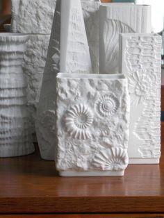 Matte white Kaiser Germany porcelain vase, fossil vase M Frey