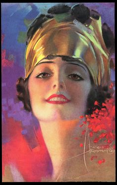 1920s Very Rare Rolf Armstrong Pin-Up Print Turbaned Flapper is Rose Marie Orig.