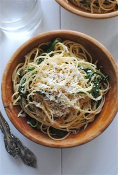 Spaghetti with lemon and garlic...recipe calls for kale, but will use baby spinach and omit the sunflower seeds.