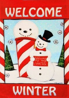 """Adorable North Pole Winter Snowman - Large Christmas Flag 28"""" X 40"""" for Holiday Yard House Porch School Classroom Office Outdoor Banner Decor by Rain or Shine. $20.50. * 28 in. x 40 in. Large Flag. Indoor/Outdoor.. * Fun decoration to welcome friends and family to your home!. Vivid Colors - Fade Resistant - Colorfast - Durable Construction. * This flag has a colorful red border.. * Welcome Winter Art Flag.  A Snowman is holding a sign """"Welcome to the North Pole."""" Sno..."""