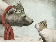 First Winter / Eric Fan.   Mother and baby polar bear with hats and scarves