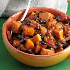 Sweet Potato Black Bean Chili. - This was Delicious!! We made some meatless and some with ground beef...both ways were very good! This is a keeper recipe!!