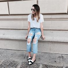 White T-Shirt, Distressed Jeans, & Black & White Pointy Toe Loafers - Image Source: Instagram @thriftsandthreads