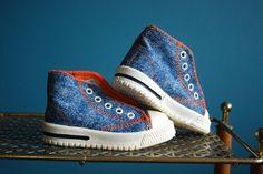Vintage Denim Baby High Top Shoes. $12.50, via Etsy.