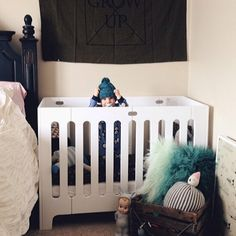 ruffledsnob used bloom's alma papa crib to create the perfect little nursery corner to keep her little one comfy and cuddly in the master bedroom Modern Baby Cribs, Modern Baby Furniture, Nursery Modern, Baby Bedroom, Master Bedroom, Baby Nook, Nursery Nook, Wood Crib, Baby Changing Table