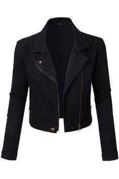 Black Moto Cropped Denim Jacket