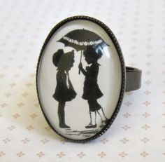First Love Ring - Black And White Ring - Romantic Jewelry - Romantic Gift - Image Jewelry - Cameo Jewelry - Retro Jewelry