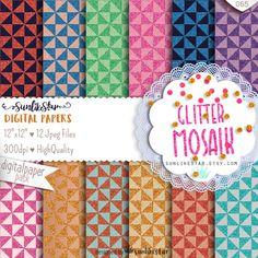 Glitter Texture Background, Glitter Scrapbook Paper | Glitter Mosaic | pink, gold glitter, pink, purple, gold texture, scrapbooking pages by SunlikeStar on Etsy #glitter #texture #scrapbooking