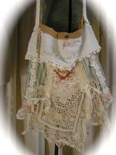Shabby Vintage Fabric Bag - handmade shabby n chic  - upcycled embellished - cottage romantic feminine bag