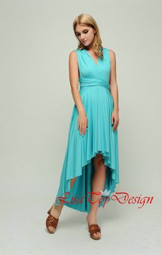 Convertible dress in Robin egg blue, infinity dress, Short convertible dress, High Low bridesmaid dresses, convetible wrap dress, prom dress