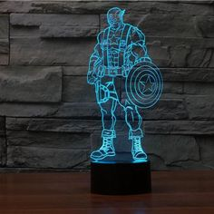 The Captain America 3D LED lamp creates an optical illusion that tricks the eyes. Light up your lives with Lampeez. Get yours today!
