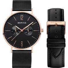 Brand new Bering watch, sapphire crystal glass, multifunction day/date indicator, milanese strap with extra leather strap
