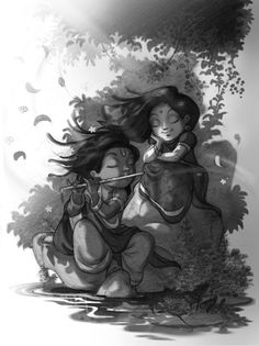 Blissful Radha Krishna by Animation Artist @dattarajkamat, via @topupyourtrip