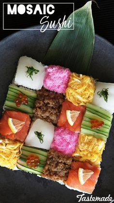 Sushi is just better when it's made into an artistic mosaic block.
