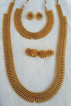 South Indian Double Long Necklace Set Wholesalers in Mumbai India Indian Jewelry Sets, Indian Wedding Jewelry, India Jewelry, Bridal Jewelry, South Indian Jewellery, Gold Jewellery Design, Gold Jewelry, Gold Necklaces, Silver Bracelets