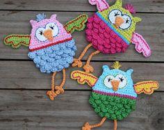 SCREECH OWL Crochet Pattern Applique by CAROcreated on Etsy
