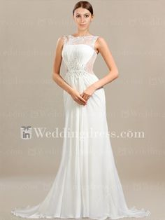 Simple Beach Wedding Dress with Illusion Neckline BC476