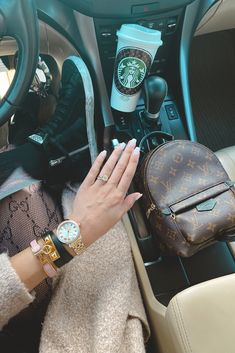 opi funny bunny, starbucks cup, lv palm springs mini, golden goose sneakers, hermes bracelet, michele watch, gucci tights