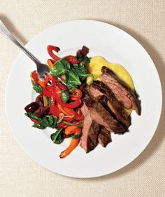 Steak With Peppers and Polenta (2012) #monthofdinners Get the recipe: http://www.realsimple.com/food-recipes/browse-all-recipes/steak-peppers-polenta-00100000086854/index.html