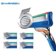 100% alta calidad cuidado facial afeitar las hojas de afeitar para hombres 5-blades a ahorra un 4 unids/pack fusione