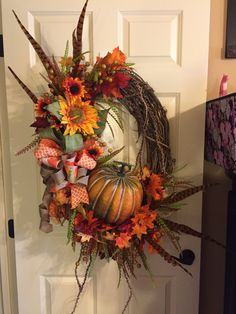 Fall wreath from Southern and Sassy Door Decor and More on Facebook