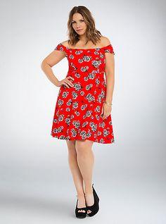 Floral Textured Off Shoulder DressPlus Size Floral Textured Off Shoulder Dress, SOMETHING NOIR FLORAL