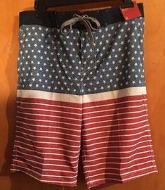 Mossimo Mens Swim Trunks Board Shorts Size 30 Red White Blue Stars American Flag  | eBay