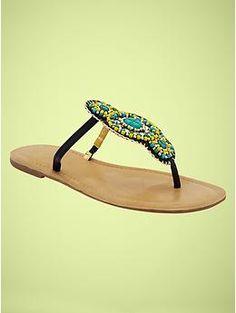 Gap Beaded T-strap flip flops Sexy Sandals, Cute Sandals, T Strap Sandals, Strappy Heels, Summer Sandals, Beaded Shoes, Beaded Sandals, Embellished Sandals, Gap Shoes