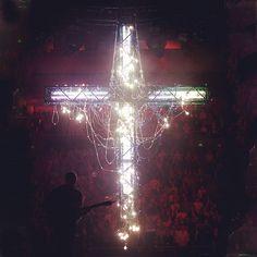 Looks like @nickjonas performing in front of a cross. #InstagramPhotography #SoPrettyLights!