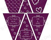 Doodle Hearts Wedding Bunting Garland Flags INSTANT DOWNLOAD purple swirls hand drawn,party reception paper decoration celebration