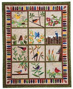 Backyard Birds: 12 Quilt Blocks to Appliqué from Piece O' Cake Designs by Becky Goldsmith & Linda Jenkins #backyardbirds