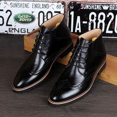 new 2016 men genuine leather ankle boots pointed toe brogues oxfords riding boots men dress shoes size 39-43