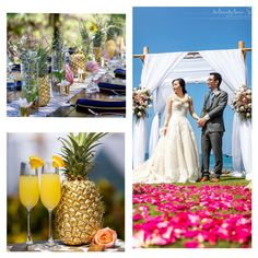 Kukahiko Estate Wedding by Hawaii Weddings by Tori Rogers, maui wedding, petal path, wedding flowers, mimosas, farm wood tables