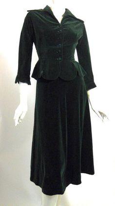 Deep Green Velveteen New Look Suit circa 1950s