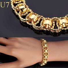 U7 Chain Bracelet With Trendy Gold Plated 21cm Unique Round Chain & Link Bracelets Men Jewelry H489