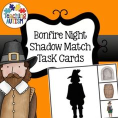 This download contains 16 different task cards based around the theme of Guy Fawkes / Bonfire Night. All comes in col option - no b/w.There are 2 task cards per page.Students have to choose 1 out of 3 possible answers to match the image to their shadow. Autism Classroom, Classroom Resources, Teaching Resources, Bonfire Night Activities, Activities For Kids, Night Shadow, Guy Fawkes, Task Cards, Students